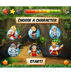 Computer game template with fairytales characters vector image