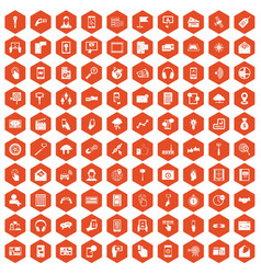 100 mobile icons hexagon orange vector