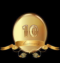 10th golden anniversary birthday seal icon vector image