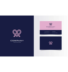 A love ribbon minimalist logo with business card vector