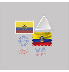 A set stamps with image flag equador vector