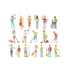 Adult people cleaning up indoors vector