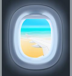 Airplane landing neer ocean vector