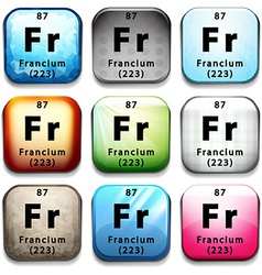 An icon showing the element francium vector