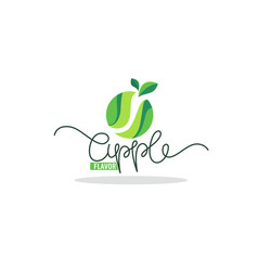 apple fruit flavor logo with lettering composition vector image