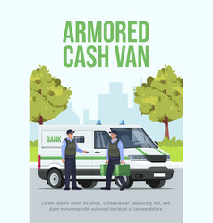 Armored cash van poster template vector