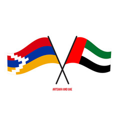 Artsakh and uae flags crossed and waving flat vector