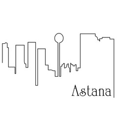 astana city one line drawing background vector image