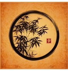 Bamboo trees in black enso zen circle vector