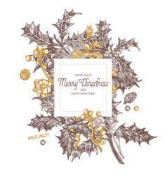 banner made with christmas festive plants vector image