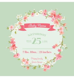 Bashower or arrival cards - with spring blossom vector