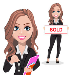 Beautiful realtor woman a real estate agent vector