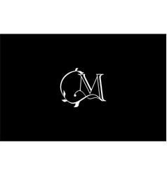 beauty linear m letter linked monogram swirl vector image