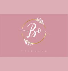 Bo b o letters logo design with golden circle vector