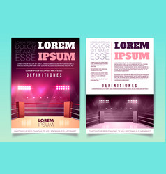 brochure with boxing ring for competition vector image