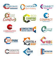 Business and identity icons with letter c vector