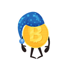 cartoon bitcoin character in blue night hat with vector image