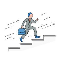 cartoon businessman running up stairs vector image