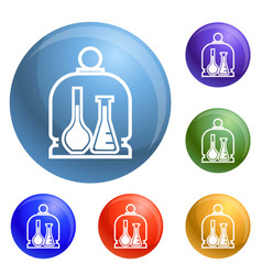 Chemistry glass flask icons set vector