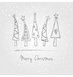 Christmas trees doodle vector