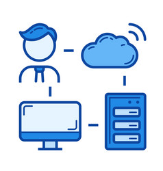 cloud connection line icon vector image