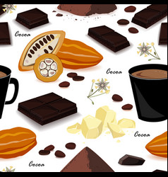 cocoa seamless pattern pod beans cocoa butter vector image