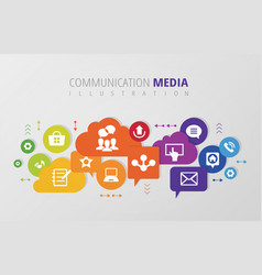 communication digital media infography vector image