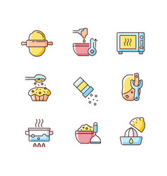 Cooking rgb color icons set vector