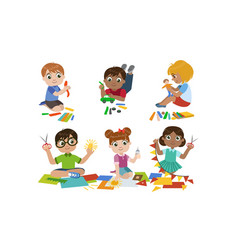 Creative kids set cute boys and girls cutting vector