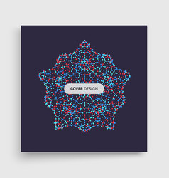 Crystal object with dots molecular grid 3d vector