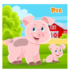 cute cartoon pig on a farm background vector image