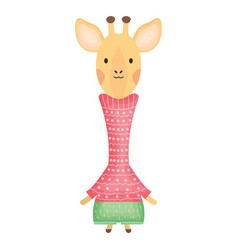 cute giraffe childish character vector image