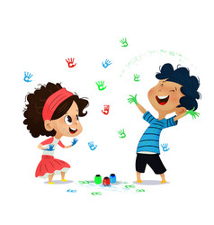 Cute kids paint drawings on the wall vector