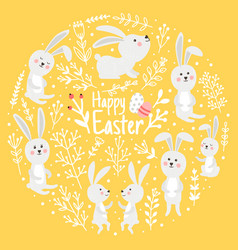 cute rabbits spring day vector image