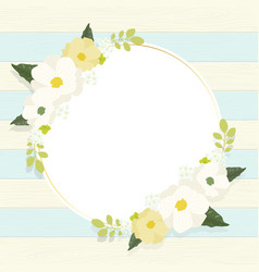 cute white cosmos flower wreath frame on vintage vector image