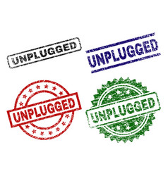 Damaged textured unplugged stamp seals vector