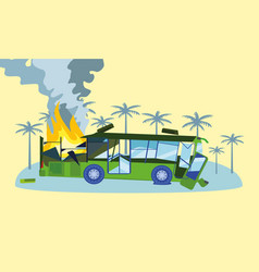 Destroyed bus in fire concept banner flat style vector