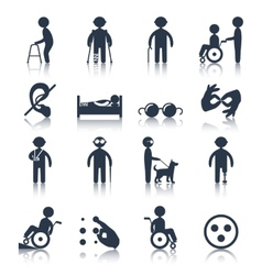 Disabled icons set black vector image
