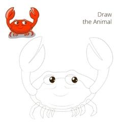 Draw fish animal crab educational game vector