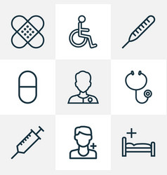 drug icons line style set with syringe vector image