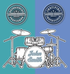 Drum Kit n Instructor Performer Stamps vector