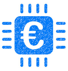euro chip icon grunge watermark vector image