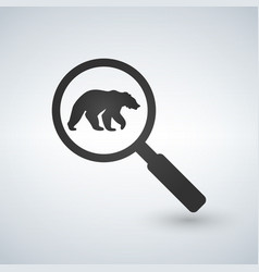 Find the bear magnifying glass flat style vector