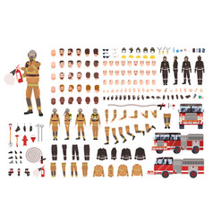 Firefighter creation set or diy kit bundle of vector