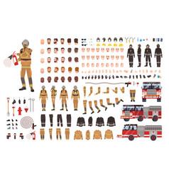Firefighter creation set or diy kit bundle vector