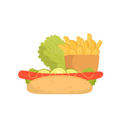 french fries hot dog and lettuce fast food dish vector image