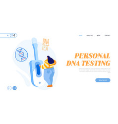 Genetic testing technology landing page template vector