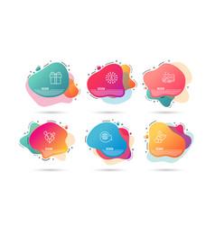 Gift box balloons and world globe icons vector