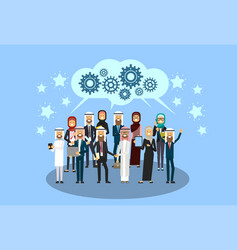 group of cheerful arabic business people reach a vector image
