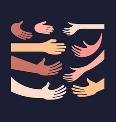hand and palm different color skin icon set vector image